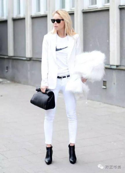 高跟尖头单鞋_为什么这么多人穿全白看起来又瘦又美?  白色单品 夏天 西装 ...