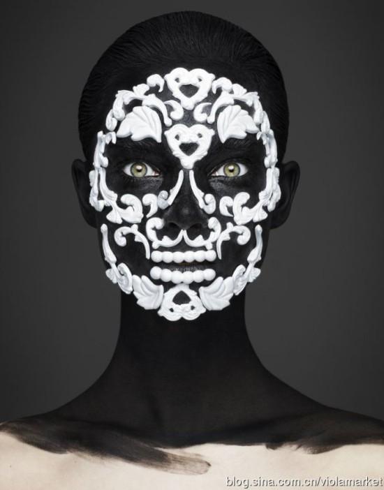 创意面具妆图片