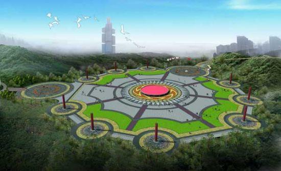 圓形公園手繪效果圖