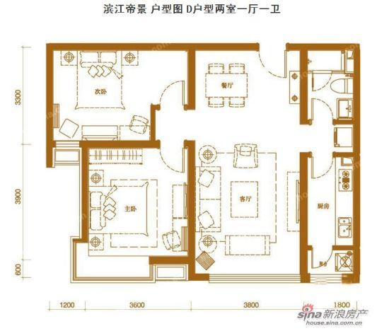 濱江帝景 戶型圖 d戶型兩室一廳一衛 88平米圖片