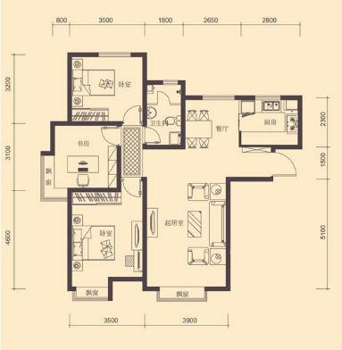 別墅均價6000-10000元/平米,雙拼戶型面積約360平米,聯排戶型面積