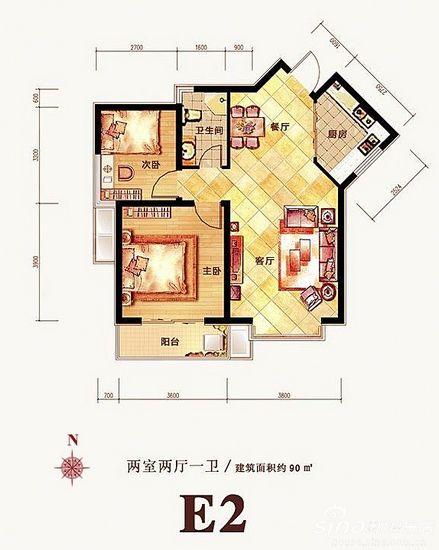 兩室兩廳平面圖; 1號樓蝴蝶式90平全明戶型 三面采光(組圖); 圖片