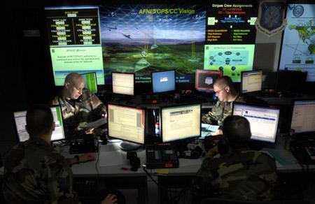 资料图:美军网络战中心内部情景示意图