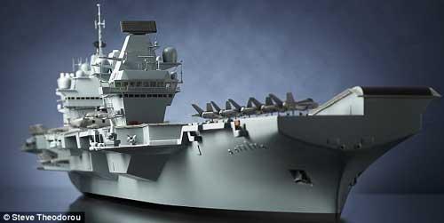 """比例为1:200的英国""""伊丽莎白女王""""级新型航母模型。"""