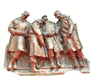 站着睡觉的士兵雕塑。