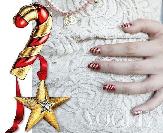 一款简单又漂亮的糖果条纹美甲 在家?#32422;�DIY圣诞节美甲
