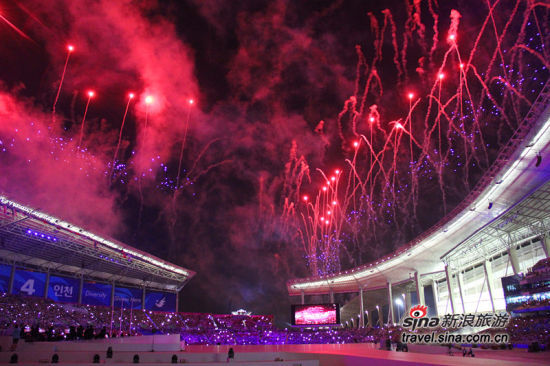 仁川亚�9/&���e�_直击仁川亚运会开幕式现场 韩国体育观光成为热点(2)